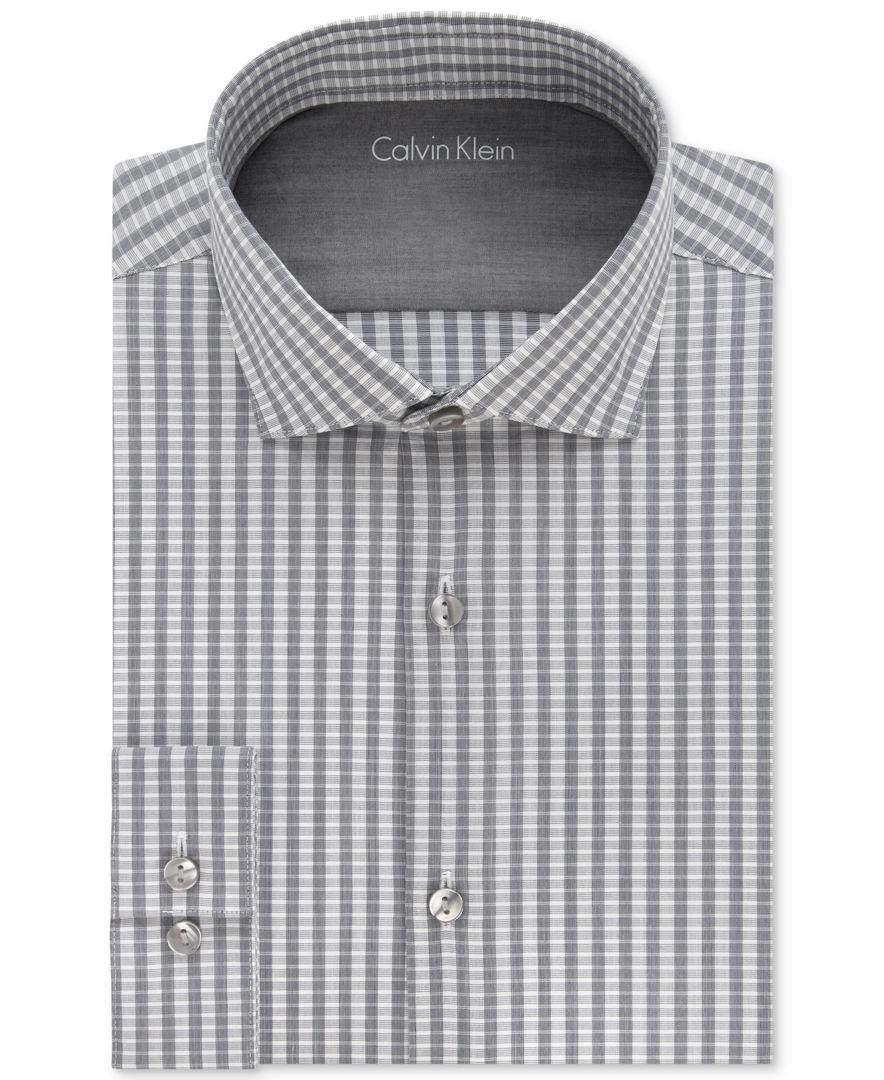 Calvin Klein Mens X Extra Slim Fit Graphite Striped Dress Shirt