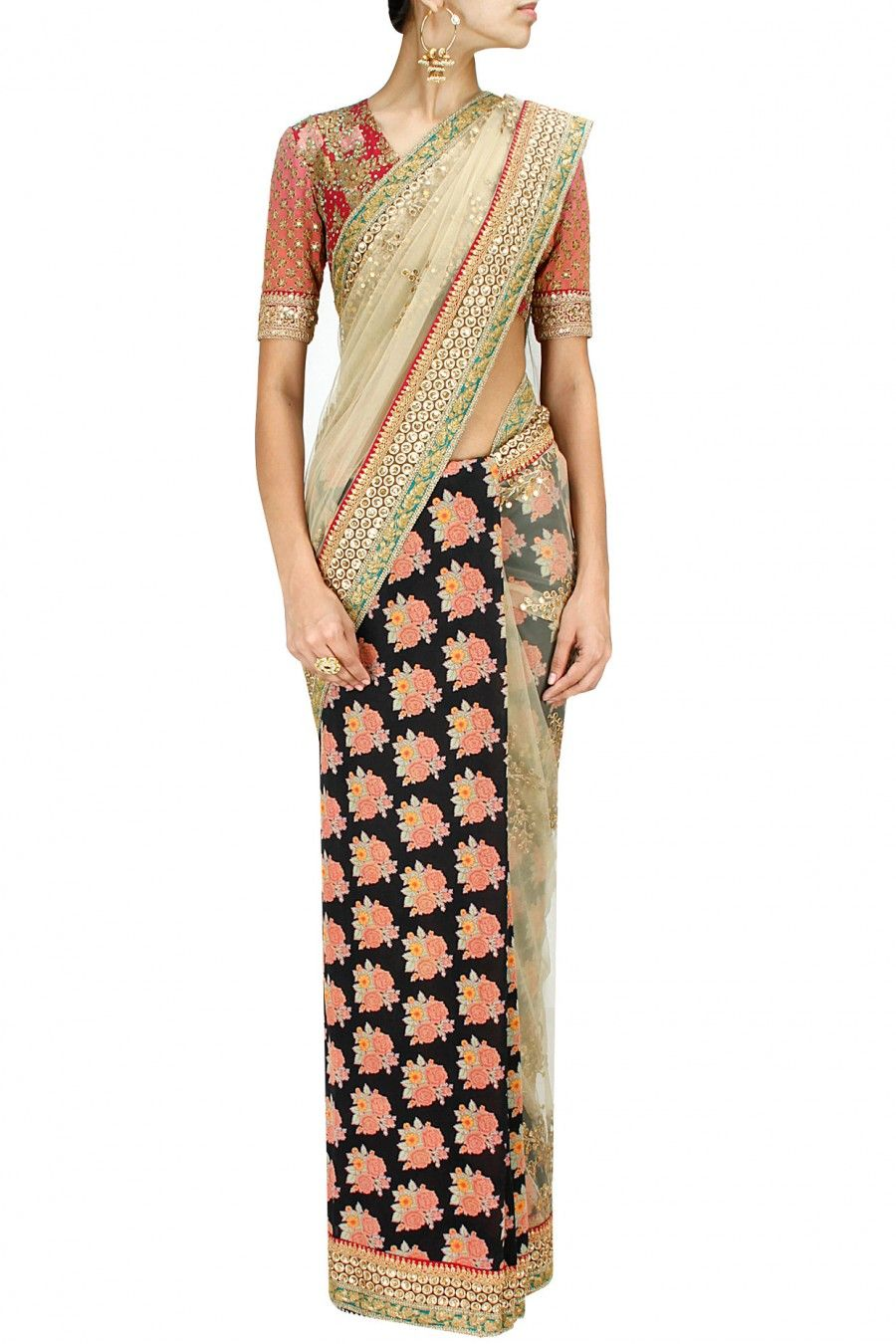 2612a6b2122f SABYASACHI - 2014 Floral printed and embroidered tulle sari with gulmarg  flowers blouse via perniaspopupshop.com