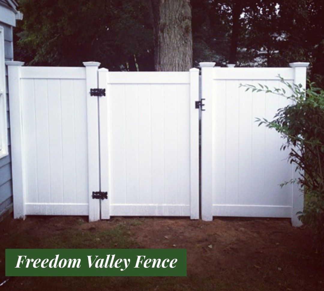 Vinyl Fence With Gates Wooden Fence Fence Landscaping Backyard Fences