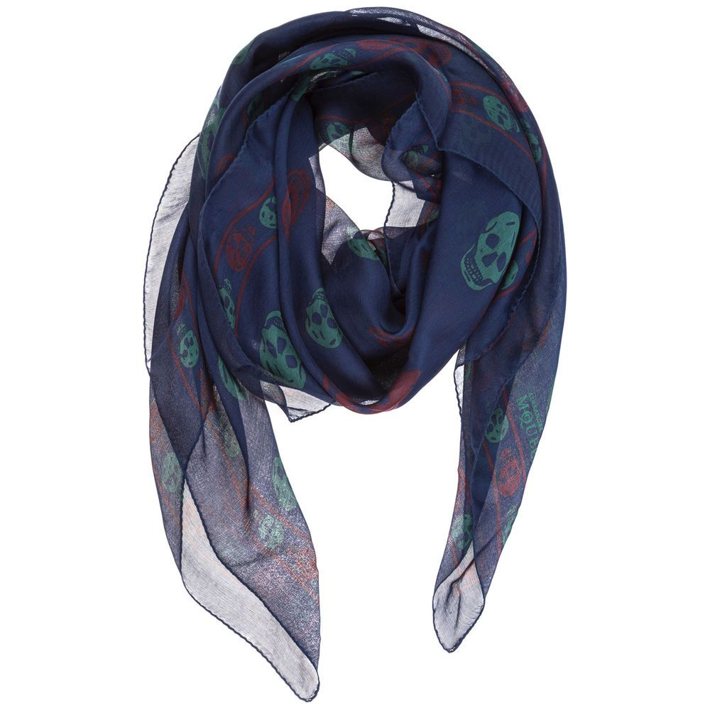 check-out 1e767 40e61 ALEXANDER MCQUEEN MEN'S SILK FOULARD NEW SKULL BLUE 020 ...