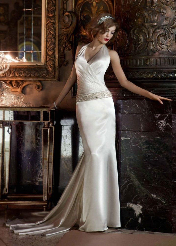 Sample wedding dress charmeuse halter w ruched surplice bodice