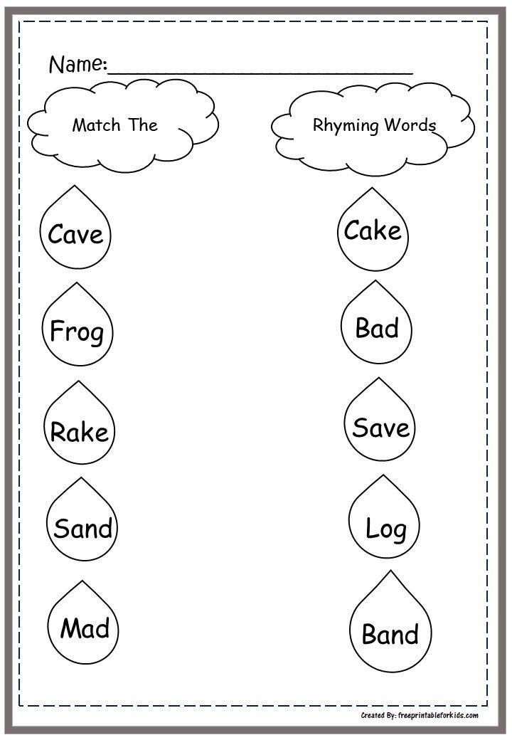 First Grade Language printable worksheets: Match Rhyming