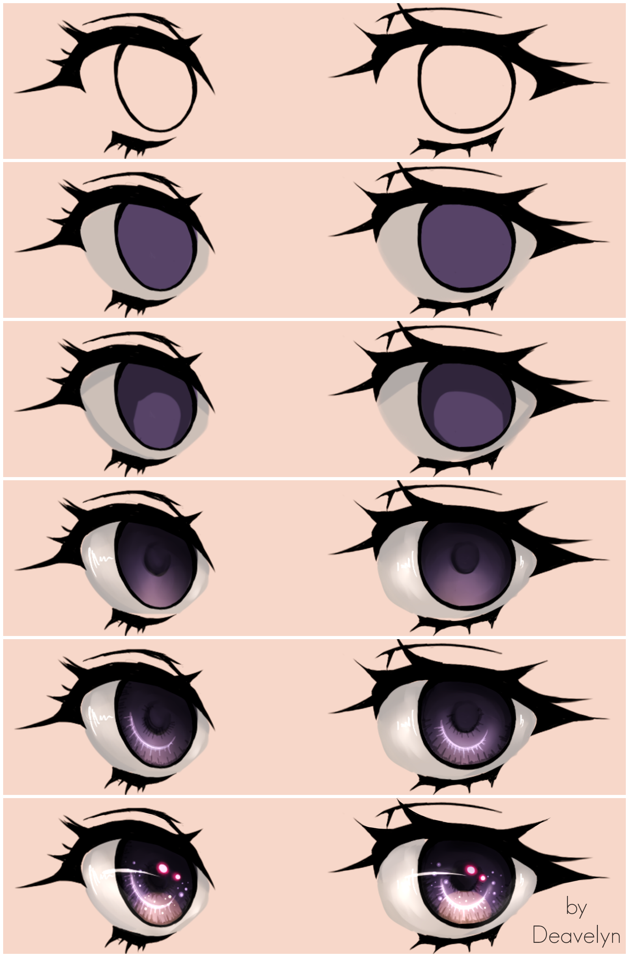 Starry Eyes Steps by Maruvie(画像あり) 目の描画のチュートリアル, デジタル画, スケッチ