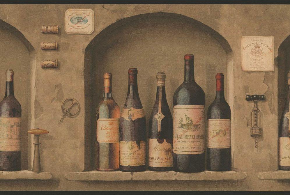 Wine Bottles Wallpaper Border Nv9652b Wine Kitchen Decor Wine Label Wallpaper Wine Decor Kitchen Wine Bottle Decor