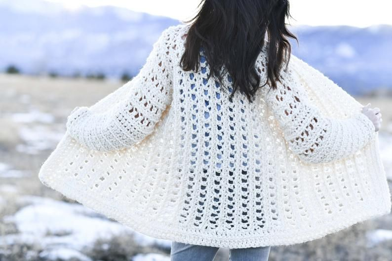 Light Snow Oversized Crochet Cardigan Pattern, Sweater Crochet Pattern, Chunky Sweater Pattern, Easy Crocheted Sweater Pattern #blanketsweater