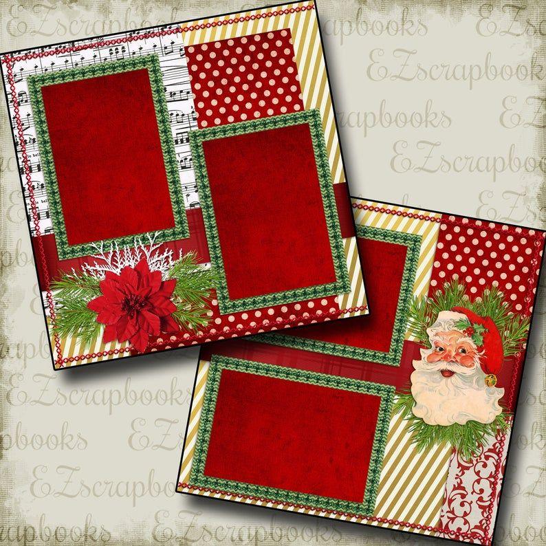 SANTA - Christmas - 2 Premade Scrapbook Pages - EZ