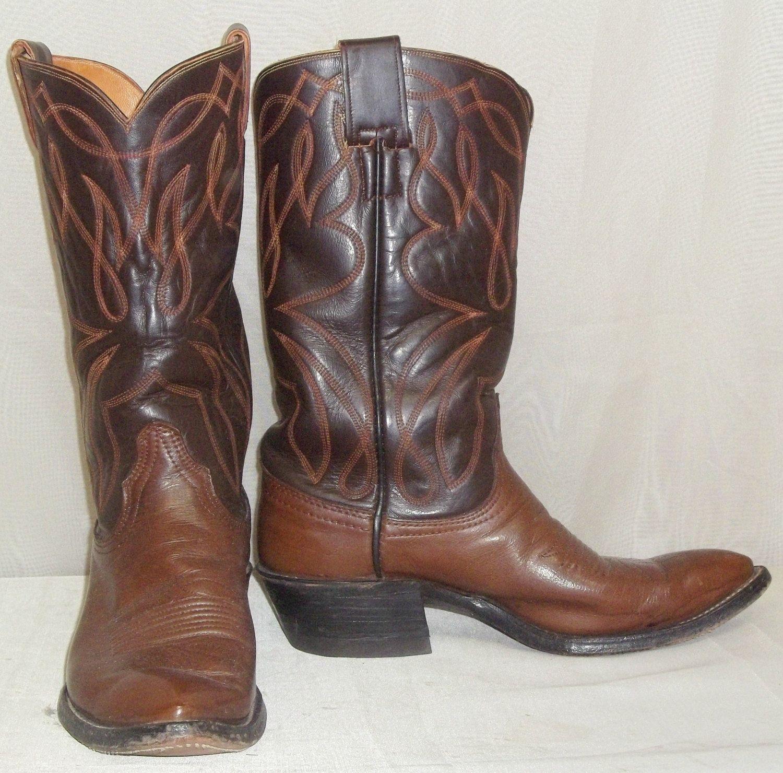 c2b4d088d36 Vintage Brown Leather Hyer Olathe KS Cowboy Boots Mens 7D Western ...