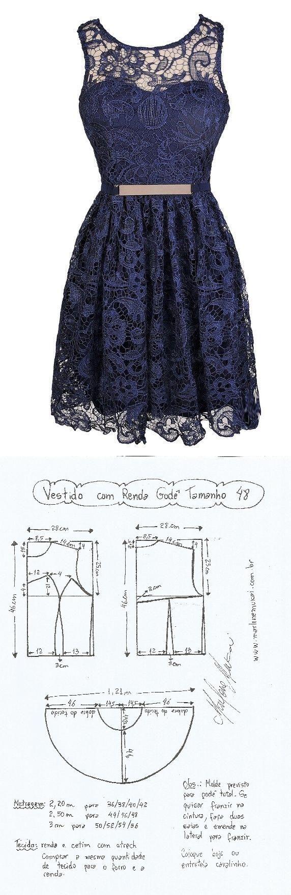 90f8ad5984 Vestido com Renda Godê. Um vestidinho jovial que pode ser feito com vários  tipos de renda ou mesmo com chiffon ou musseline forrado com cetim ou  tricoline.