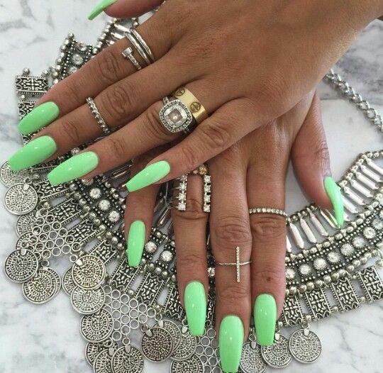 Bright Ideas Green Acrylic Nails Mint Green Nails Green Nails