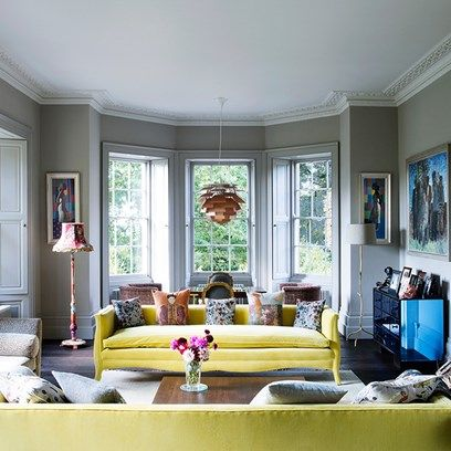 Grey Living Room With Yellow Sofas Interior Design Living Room
