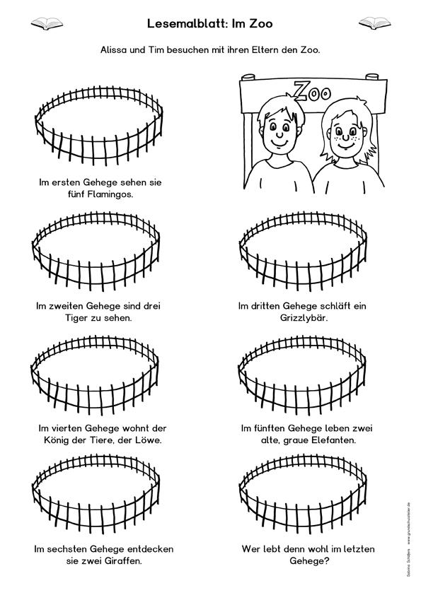 lesemalblatt kostenloses arbeitsblatt zum leseverst ndnis zum thema zoo f r die grundschule. Black Bedroom Furniture Sets. Home Design Ideas