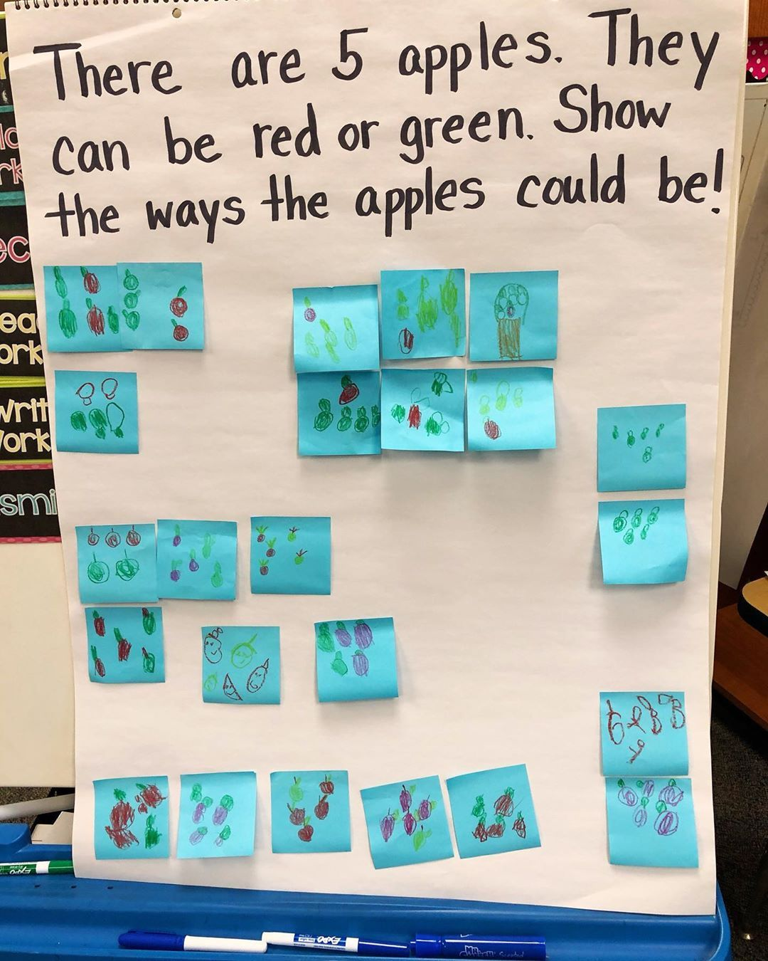 "Photo of Kindergarten Teacher on Instagram: ""🍎 🍏 Today we read 10 Apples Up on Top and worked through this math problem. Every student was successful, they were challenged to find…"""