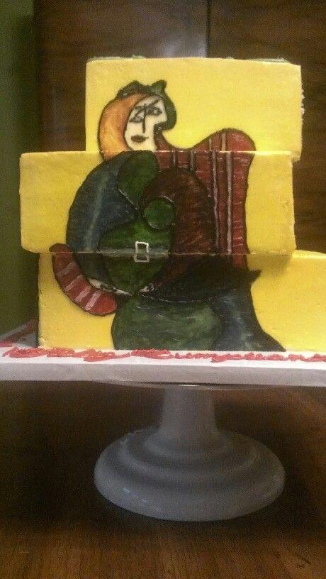 Three tiered modern art inspired custom birthday cake This side is