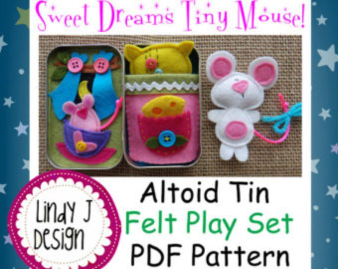 Sweet Dreams Tiny Mouse Altoid TIN BOX Play Set PDF Pattern