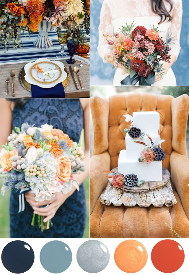 wedding color palette burnt orange dusty blue | D. Photography