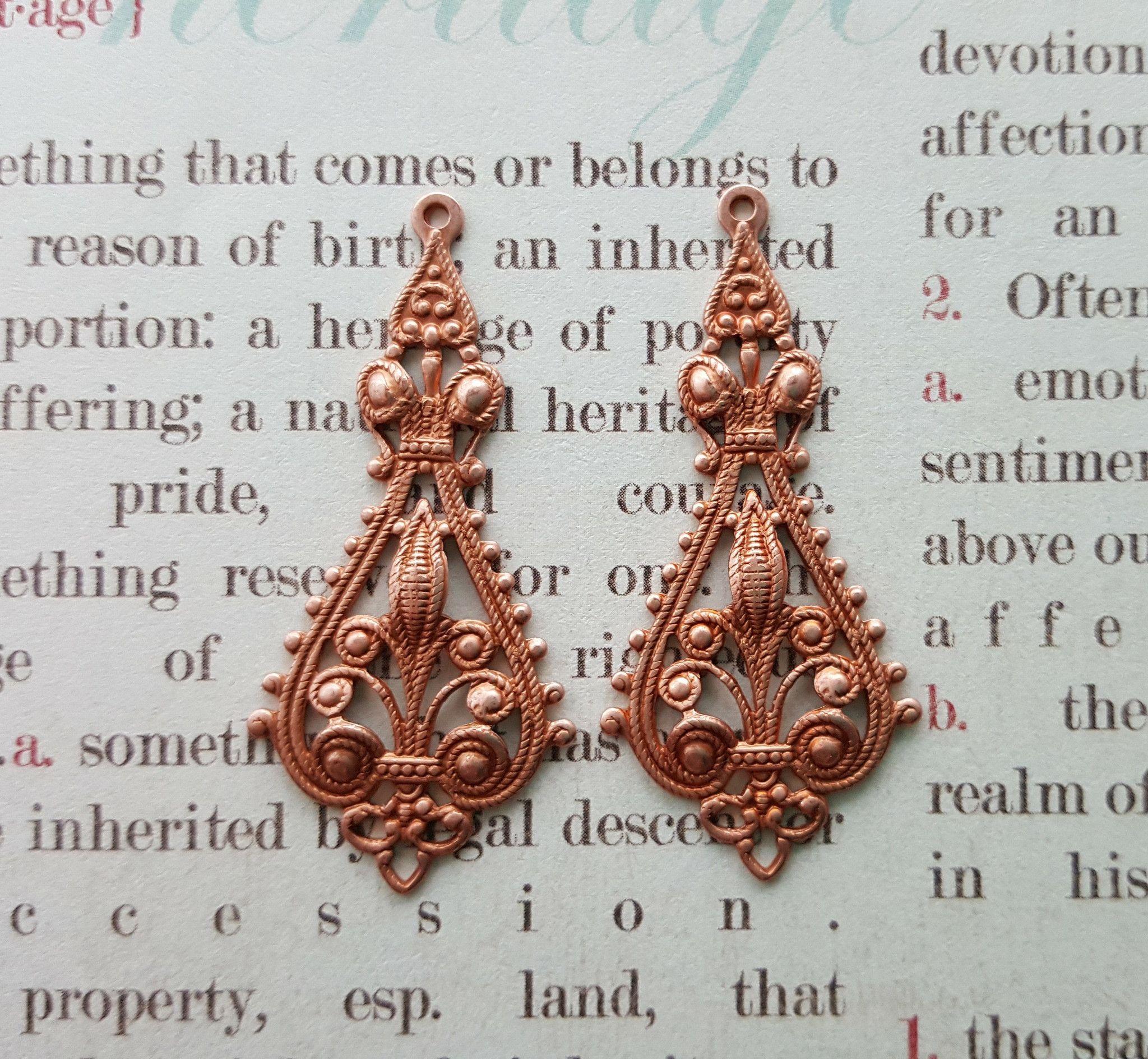 Rose Gold Ornate Dangle Stampings (2) - RGS5784