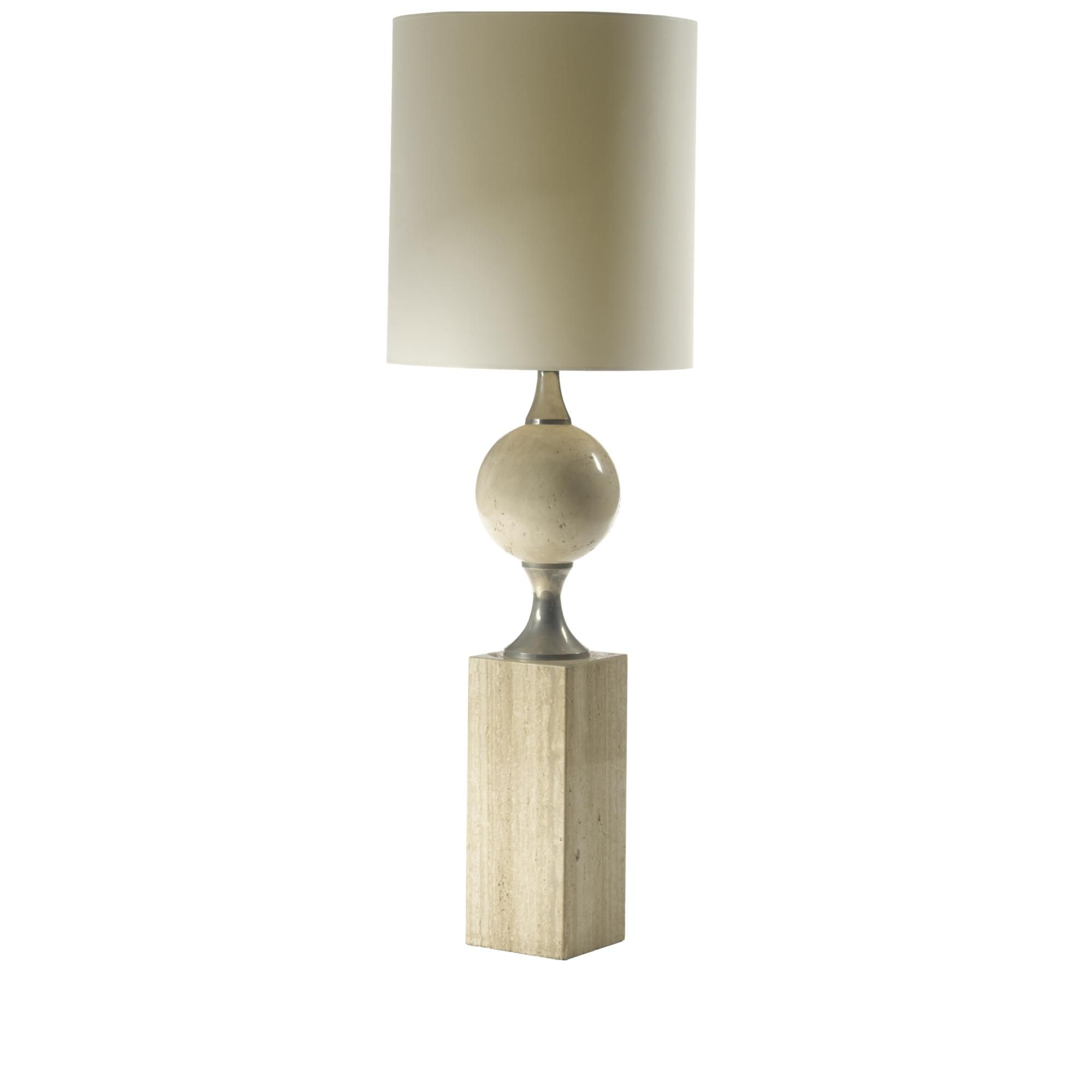 Maison jansen a metal and travertine standard lamp a three light maison jansen a metal and travertine standard lamp a three light fixture above two tapering metal segments joined by a sphere on a rectangular base arubaitofo Gallery