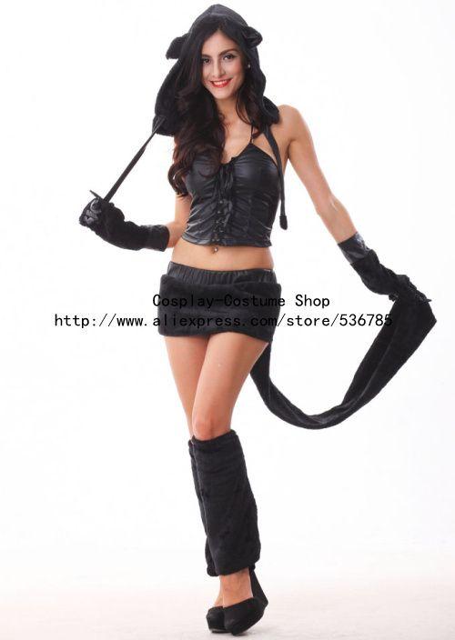 Nueva llegada Sexy disfraces de animales para adultos Sexy traje de zorro  lobo   Cat mujer de Halloween ropa negra 4 unids en Ropa de Novedad y de  uso ... f2168a45d7c0