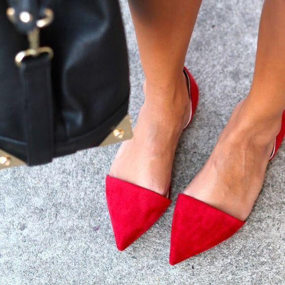 16b4b864e8f Zara Vamp Pointed Toe Flats w Heel - Red ...