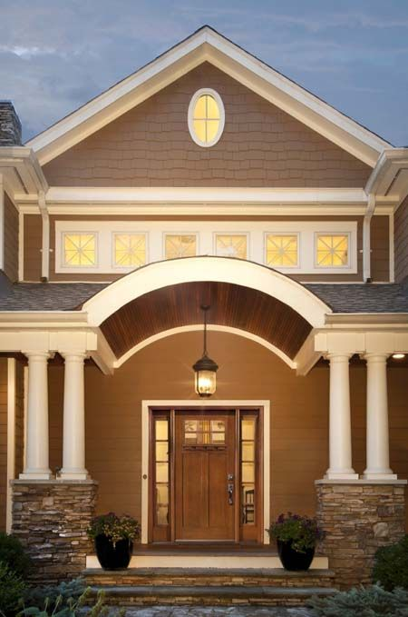 residential front doors craftsman. Clopay Craftsman Collection Stained Fiberglass Front Door With Clarion Glass Windows And Sidelites Optional Dentil Residential Doors