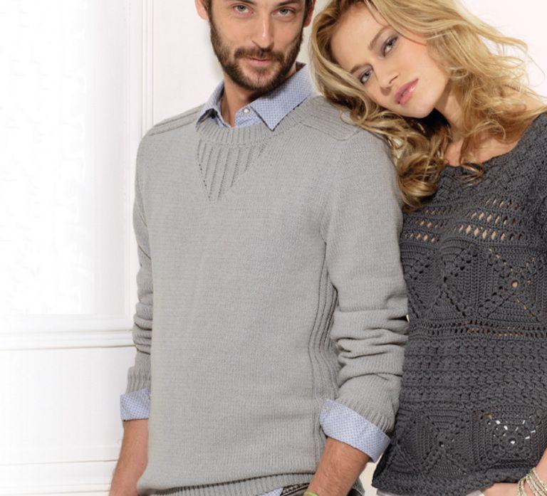 Des côtes placées qui revisitent les classiques pour ce pull looké sportswear. Modèle facile à tricoter. Bords et pointe fantaisie à l'encolure en côtes.