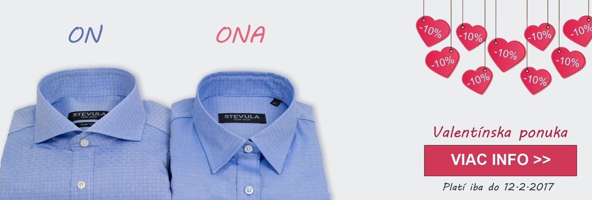 Valentínska ponuka pre dvoch - kúpte ako darček na valentína partnerovi košeľu, ktorá mu bude robiť radosť po celý rok!