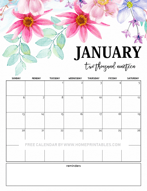 January Calendar 2020 Cute January 2019 Calendar: 10 Cute Free Printables for You! | January