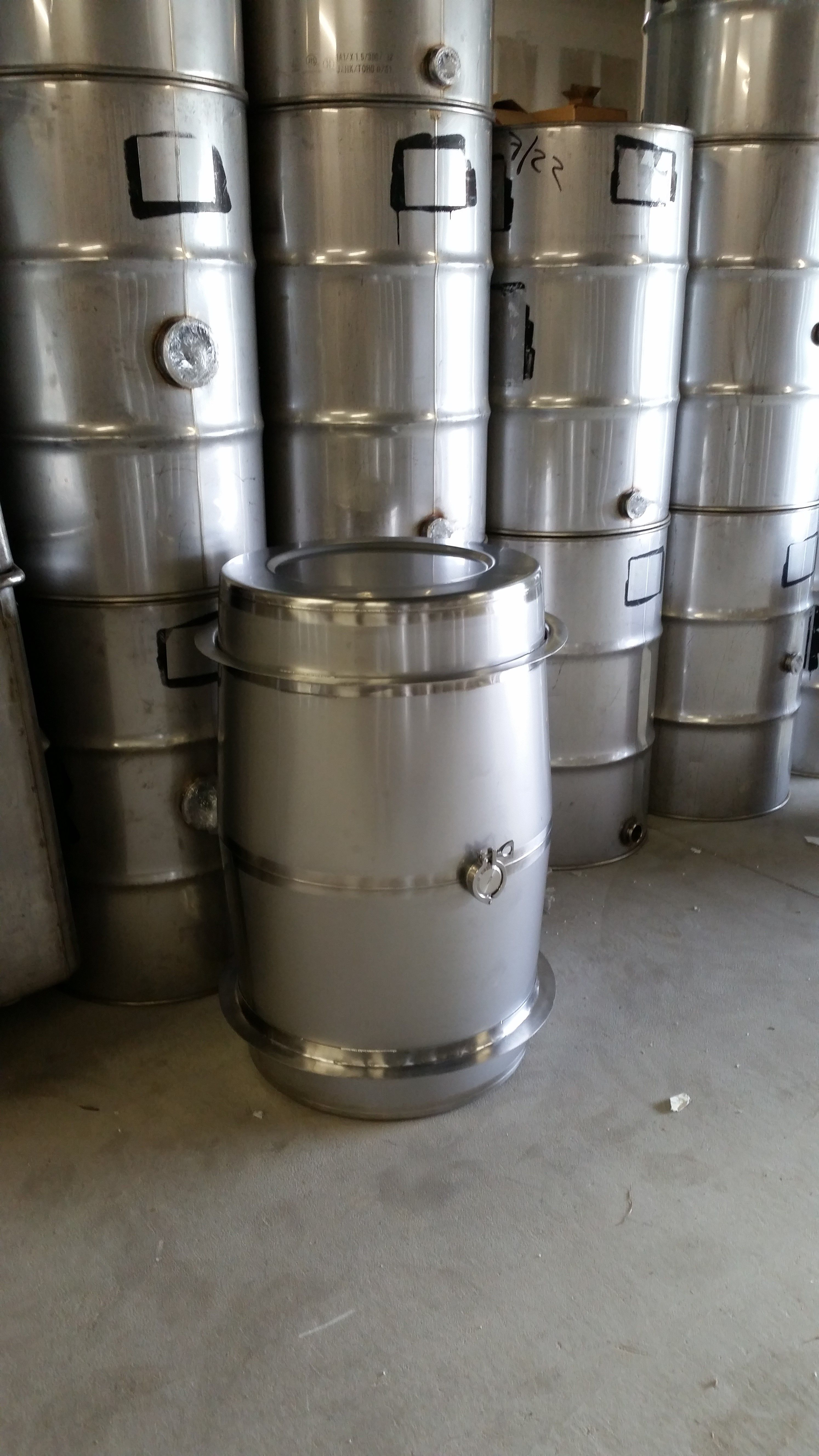 75 Gallon Stainless Steel Wine Barrels Now In Stock 2mm Thick And Seamless Insides See Www Usedstainles Steel Barrel Stainless Steel Accessories Wine Barrel