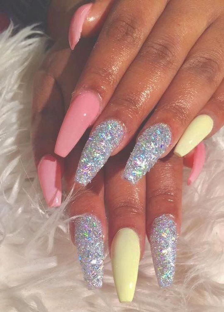 35 Latest Glitter Acrylic Nail Art Designs Ideas For Long Nails Coffin Nails Designs Pretty Acrylic Nails Cute Acrylic Nails