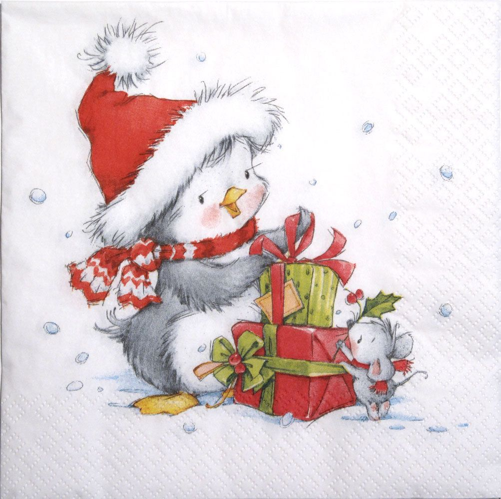 winter Xmas -580 gift 4 Single paper decoupage napkins Teddy Bear Christmas
