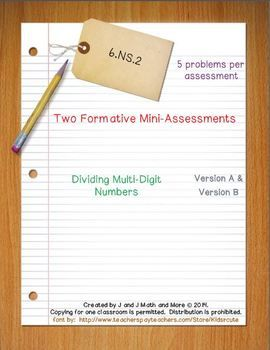10 problems in two formative mini-assessments that cover dividing multi-digit numbers.