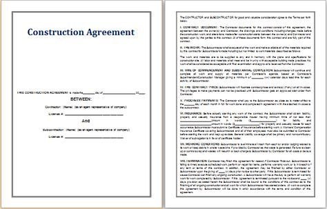 Construction Agreement template at   worddoxorg/construction - sample contractor agreement