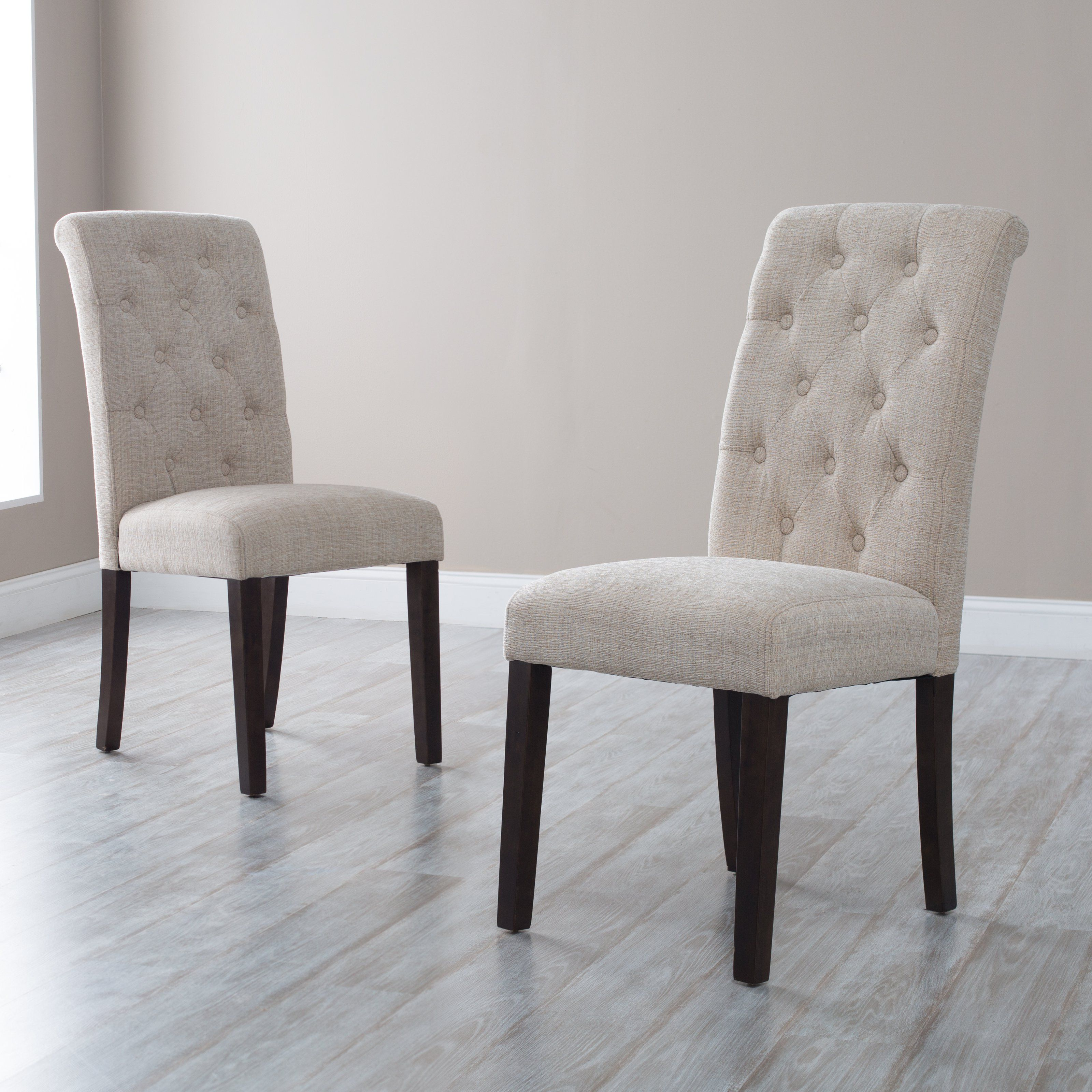 Beige Leather Dining Chairs Ikea Poang Chair Review Have To It Morgana Tufted Parsons