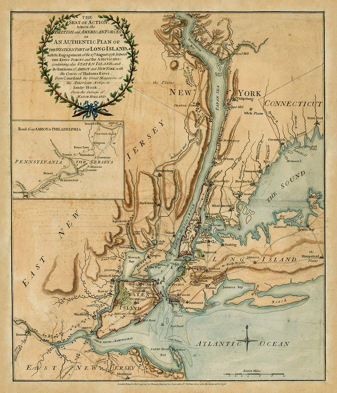 American Revolutionary War Battle Map Depicting The New York And New Jersey Campaign Focusing ...