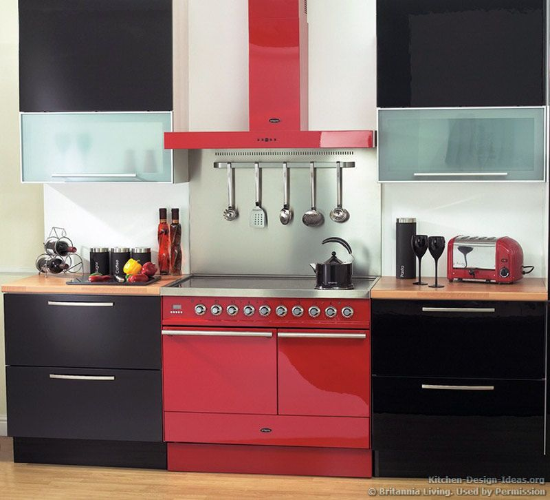 red appliances | Splash of Color: A red range oven and hood bring ...