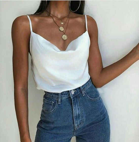 Photo of Relaxed Adjustable Spaghetti Strap Cow Neck Silk Satin Cami Camisole Top