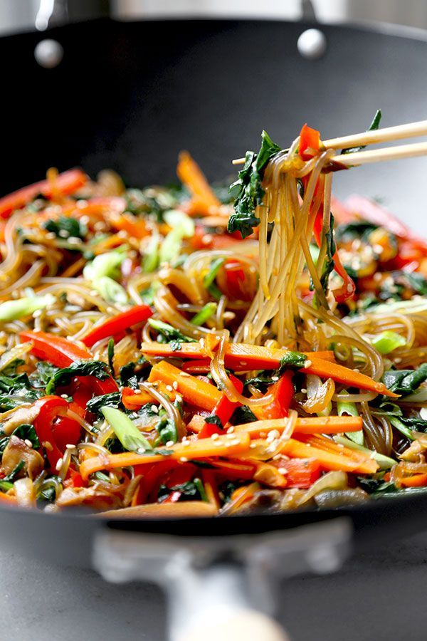 A savory, sweet and nutty Japchae Recipe that marries chewy Korean glass noodles with stir-fried veggies. Ready in 16 minutes from start to finish!  Japchae Recipe (Korean Glass Noodles) Every time Be