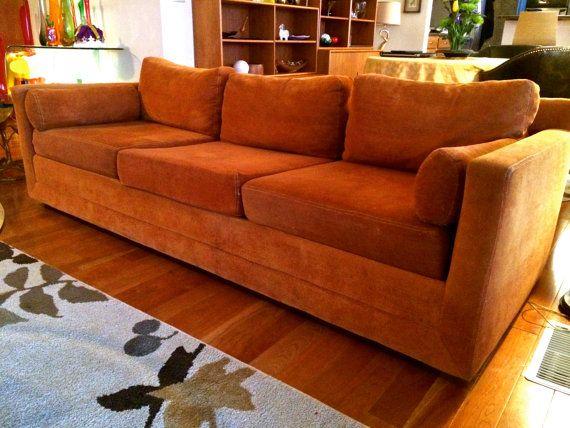 Mid Century Modern Selig Monroe Vintage Sofa With Original Burnt Orange  Velvet