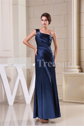 Dark Navy Fit-and-Flare Ankle-Length Long Elastic Silk-like Satin Bridesmaid Dress