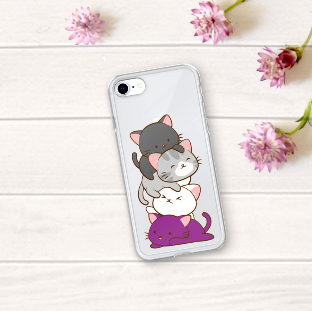 Asexual Pride Flag Kawaii Cat Cute Phone Case / Ace Kittens iPhone 6 6S 7 8 Plus X XR XS Max Clear Cover