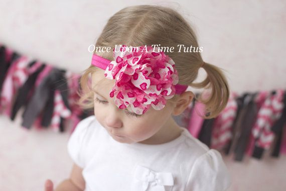 Hot Pink and White Heart Print Flower Puff Headband - Photo Prop - Newborn Baby Hairbow - Little Girl Hair Bow - Pink Hair Accessories