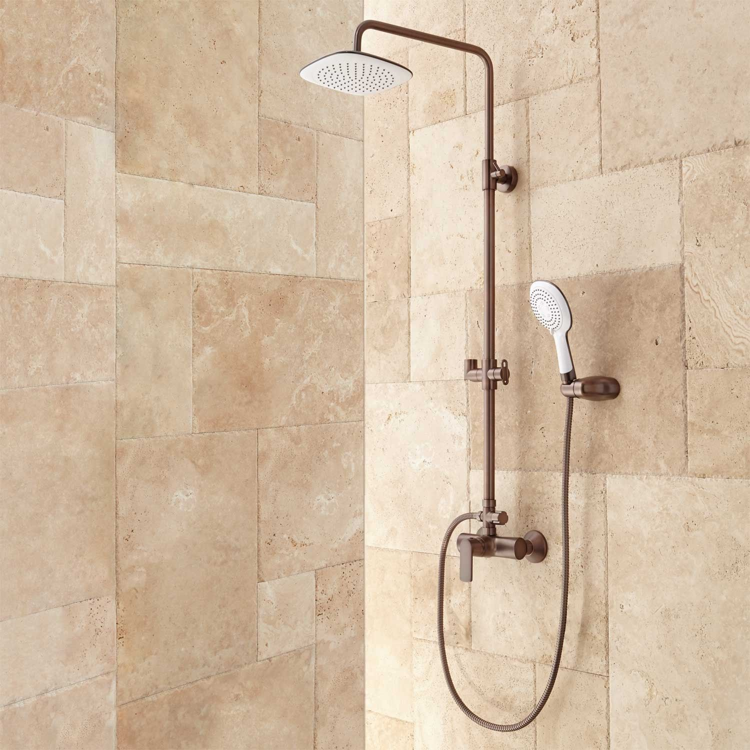 Mayport Exposed Pipe Shower | Shower bathroom, Brushed nickel and ...