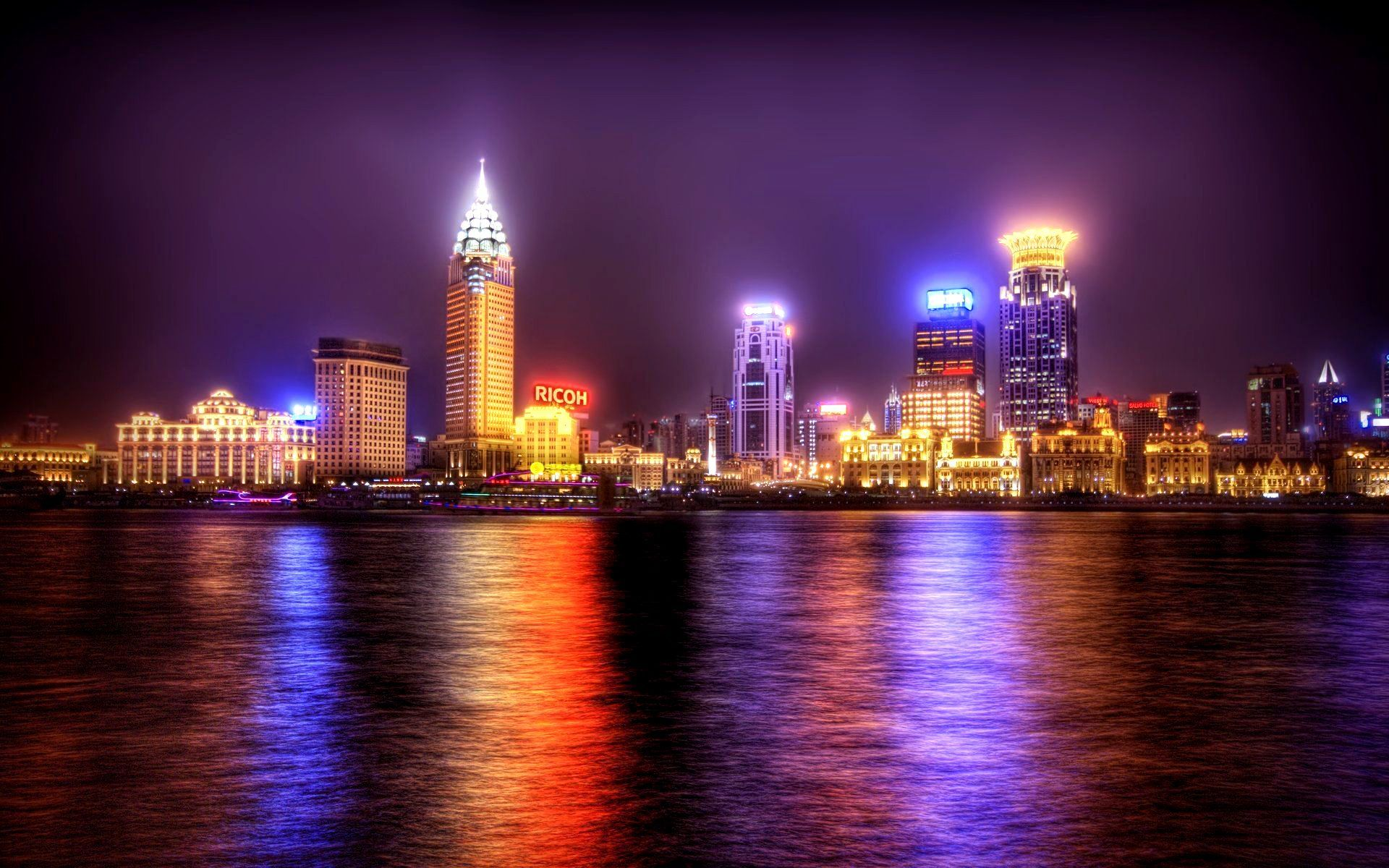 Night-City-Light-Lights-America-Water | Atmosphere | Pinterest:Night-City-Light-Lights-America-Water,Lighting