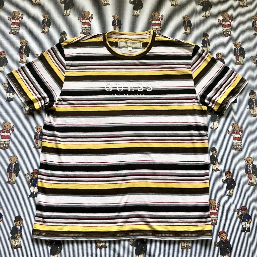 e83a08fcd9 BNWT Black, White & Yellow Striped Guess T Shirt (S/M) in 2019 ...