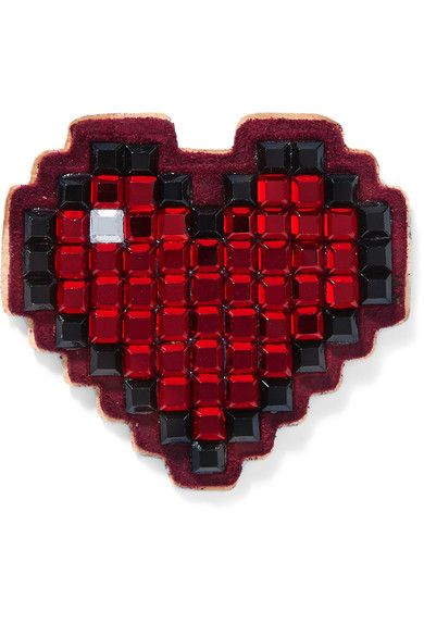 ANYA HINDMARCH Heart crystal-embellished suede sticker€80