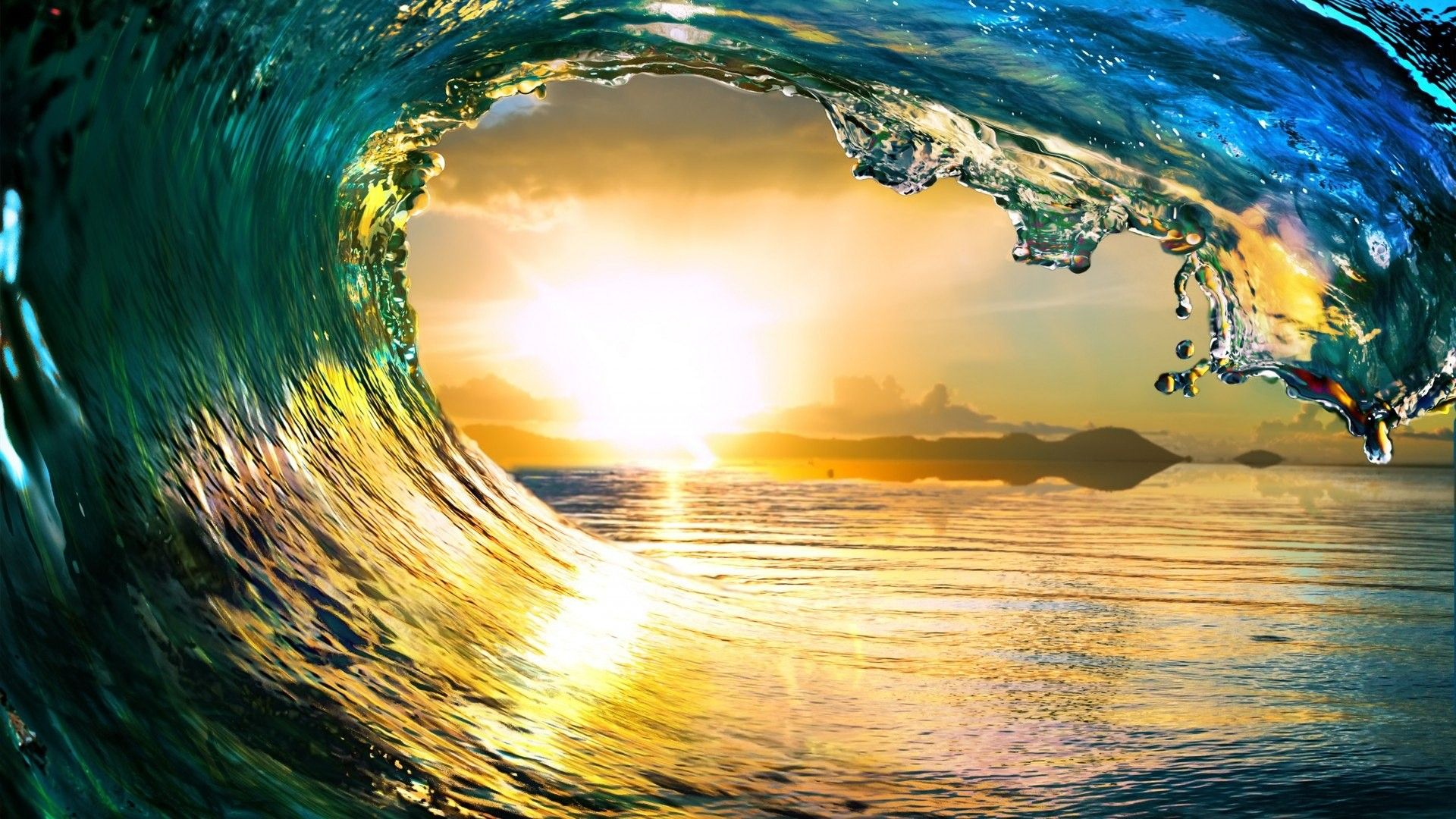 Free Ocean Waves Sunset Nature, computer desktop