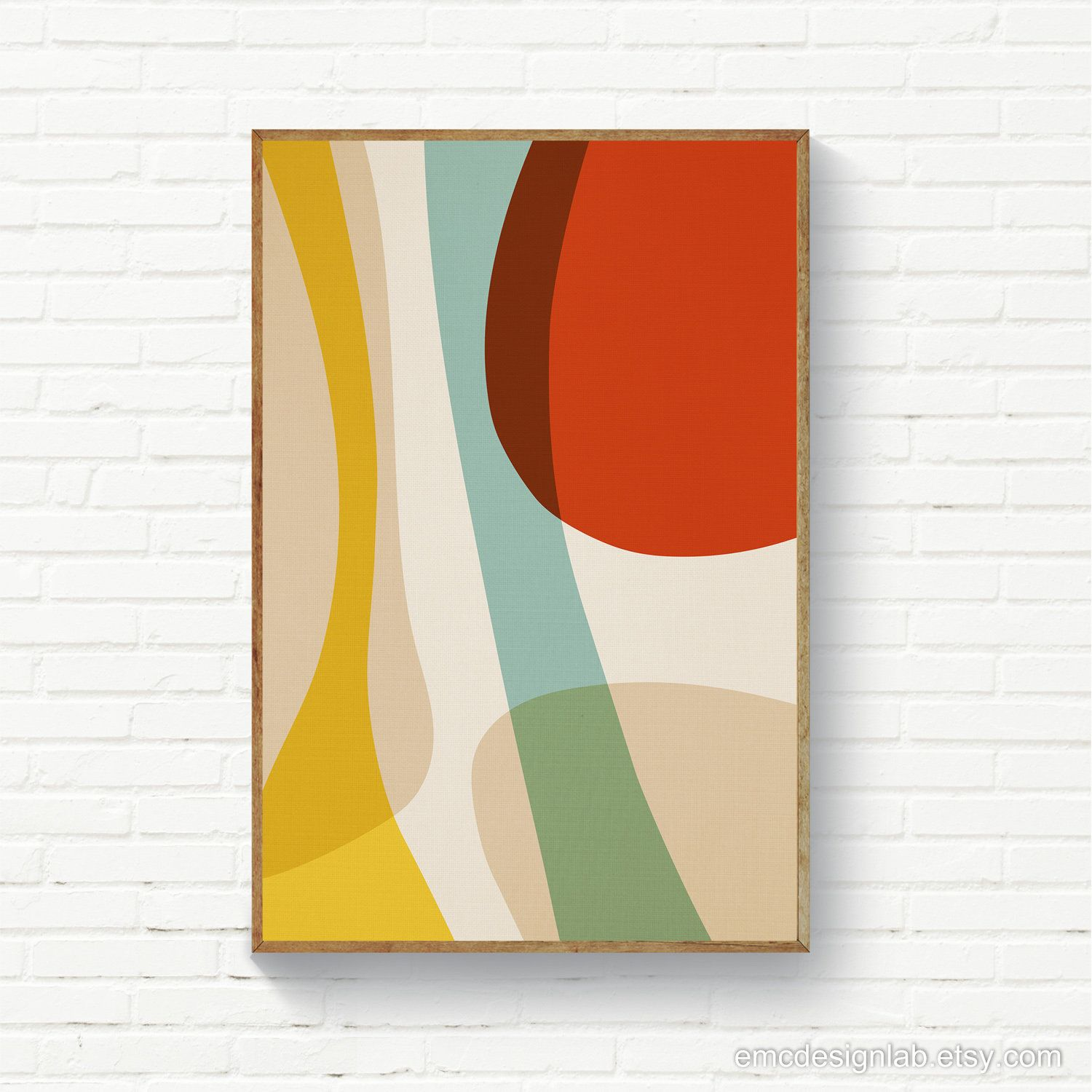 Digital Abstract Print Beige Red Baby Blue Yellow Abstract Contemporary Original Art Downloadable Prints Large Size Posters With Images Abstract Abstract Geometric Art Abstract Print