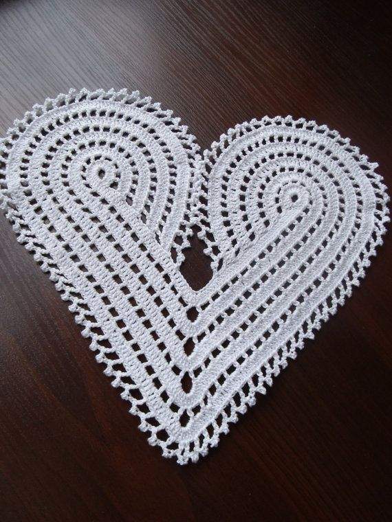 Hand crochet large white heart doily decoration or applique ...