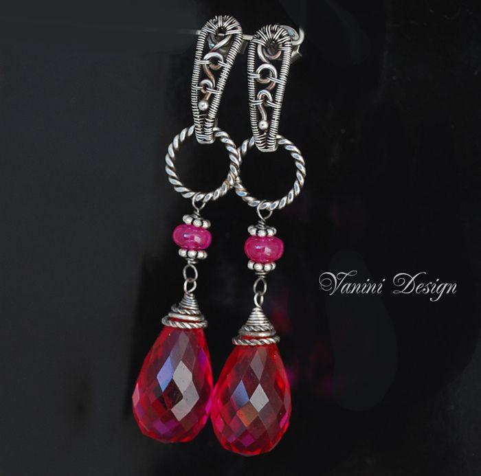 Venice Fine Silver Raspberry Quartz Pink Ruby Post Stile Earrings Earrings Inspiration Earrings Jewelry Inspiration