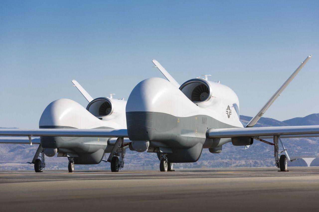 Two MQ-4C Triton UAVs [Future Drones: https://futuristicnews.com/tag/drone/ Drones for Sale: https://futuristicshop.com/category/unmanned-aerial-vehicles-uav-for-sale-quadcopters-for-sale-drones-for-sale/ Military Technologies: https://futuristicnews.com/tag/military/ DARPA: https://futuristicnews.com/tag/darpa/ Future Wars: https://futuristicshop.com/category/future-wars/]